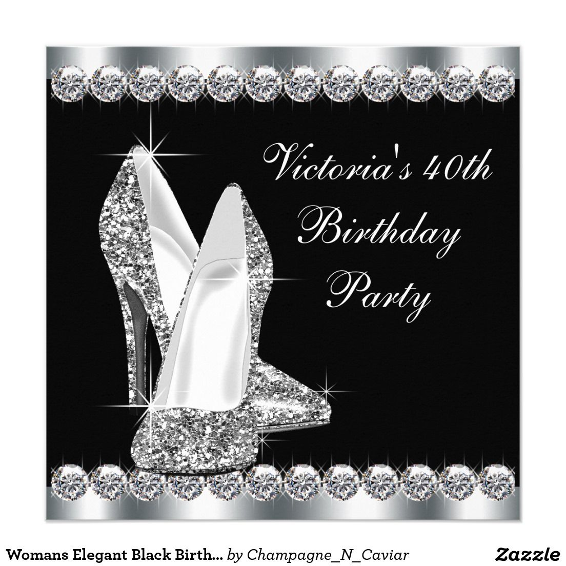 Womans Elegant Black Birthday Party 5.25x5.25 Square Paper ...