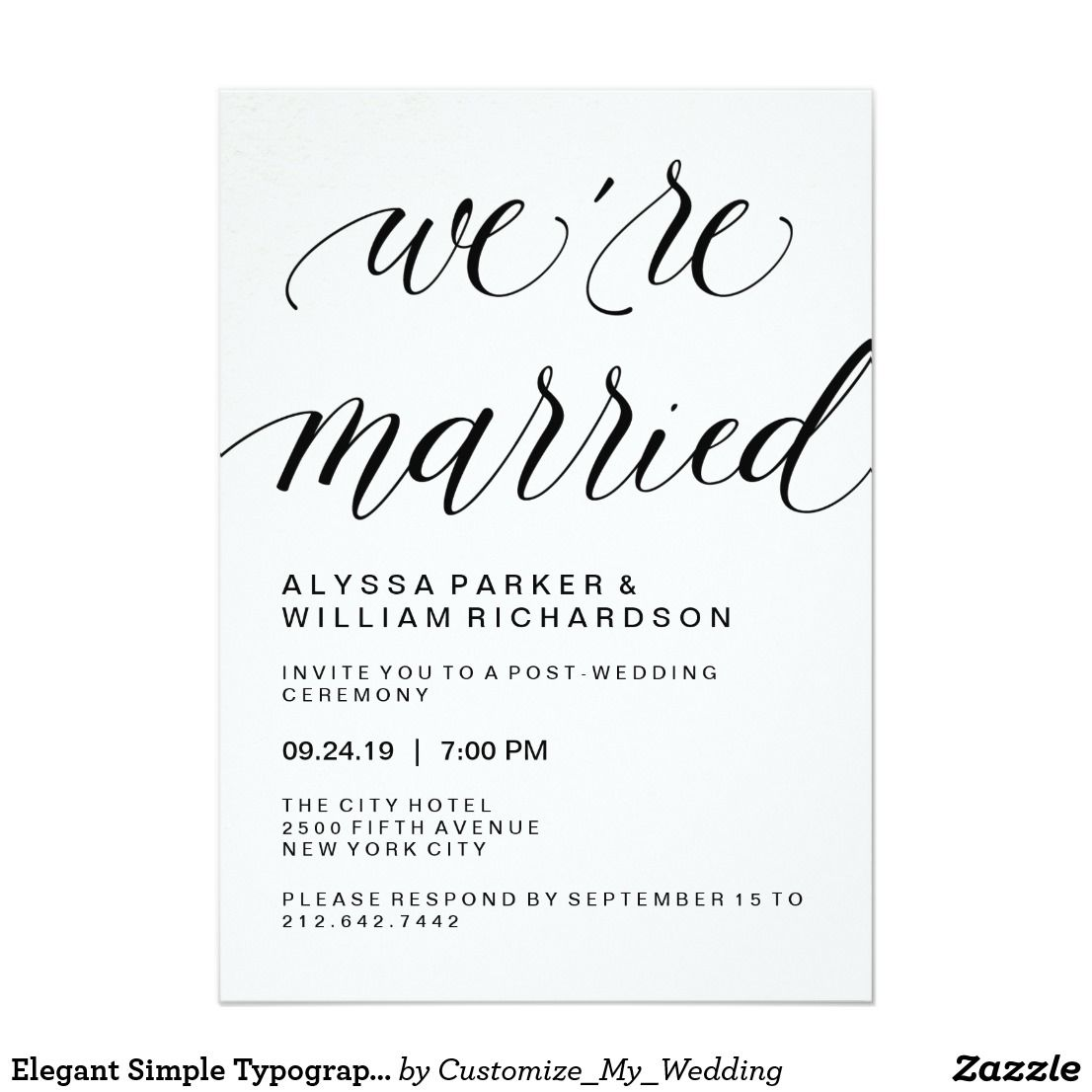 Elegant Simple Typography Post Wedding Ceremony Invitation Pretty
