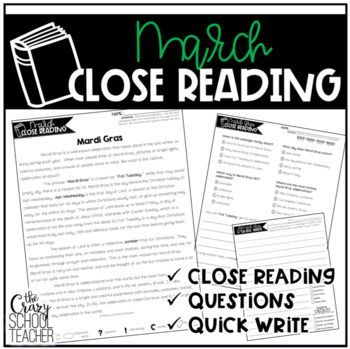 This March Close Reading resource is the perfect way to