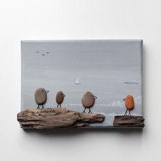 tableau galets bois flott mer oiseaux fond gris tableau. Black Bedroom Furniture Sets. Home Design Ideas