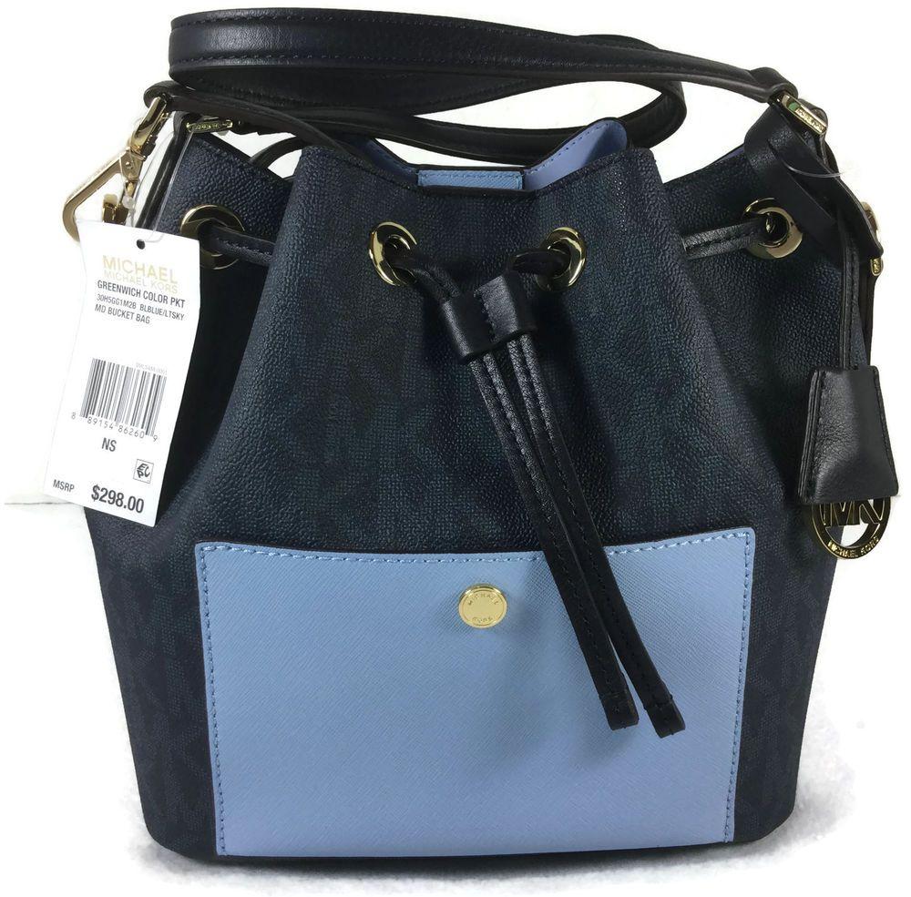 739d8a4a2d7b Michael Kors GREENWICH Medium Bucket Purse Bag Baltic Light Sky Blue NWT  $298 #MichaelKors #Bucketbag