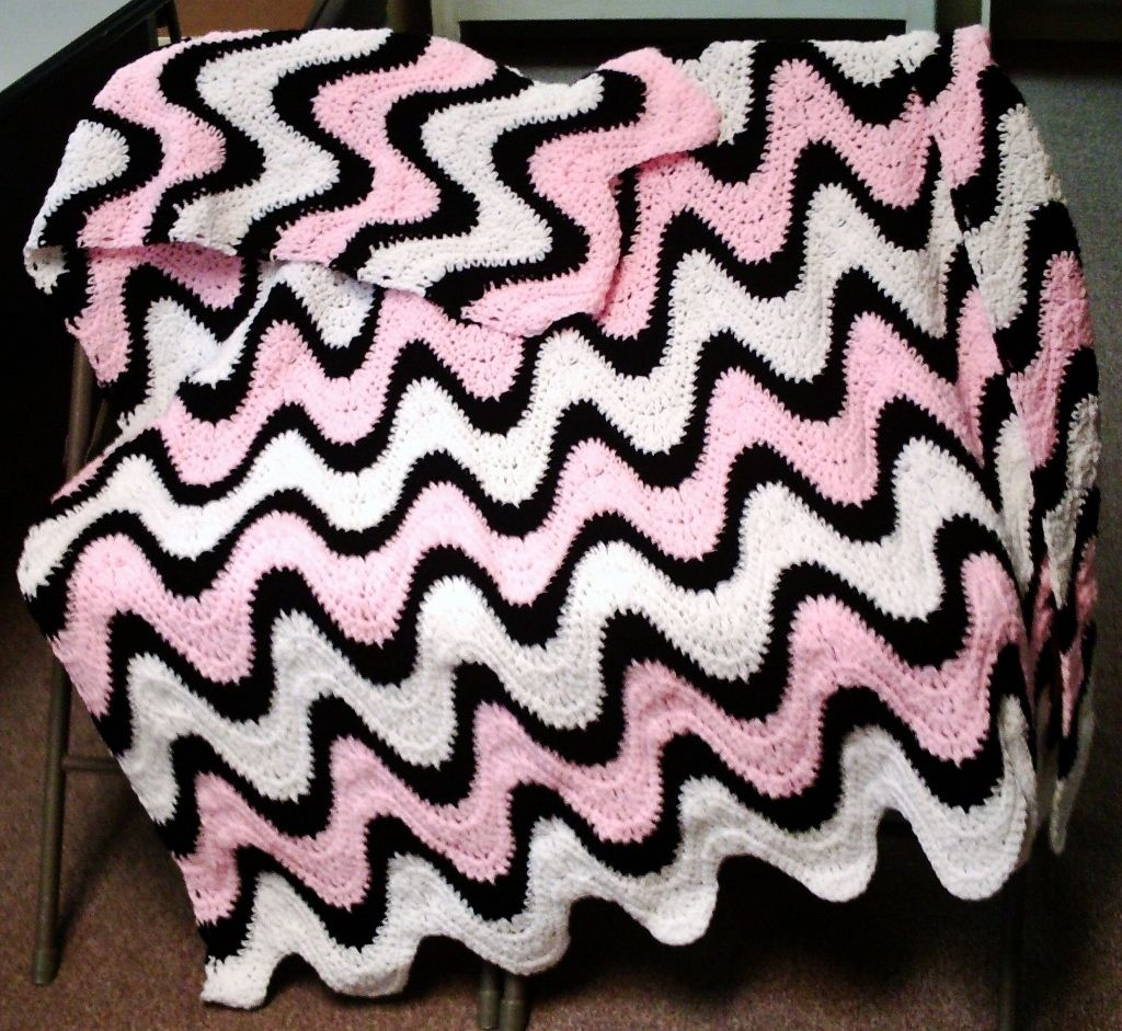 Crochet Pattern 102B PDFfor 3 Color Exaggerated Ripple Afghan ...