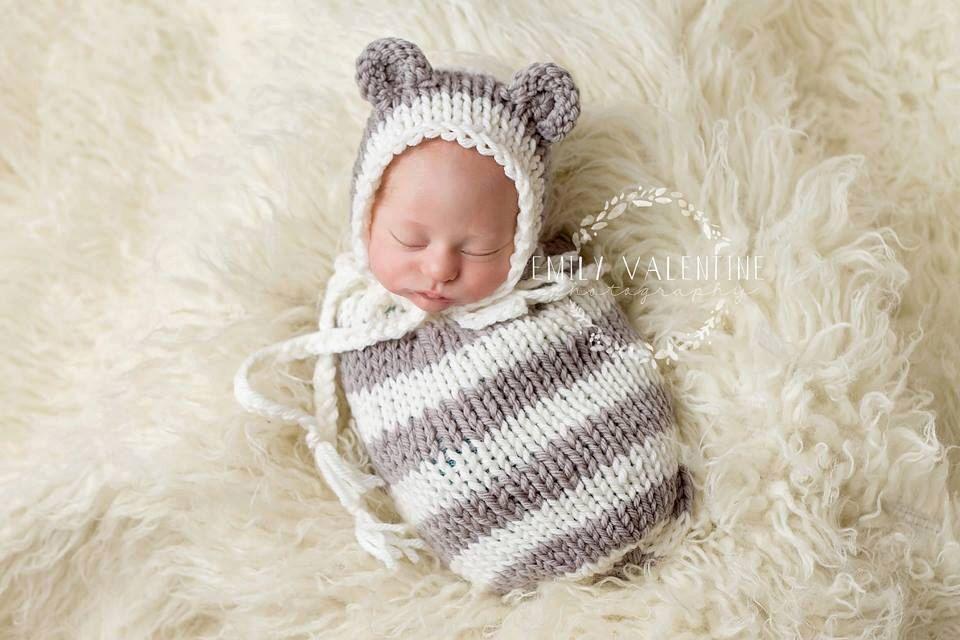 Teddy Bonnet - PDF PATTERN - newborn baby toddler knit bonnet hat ...