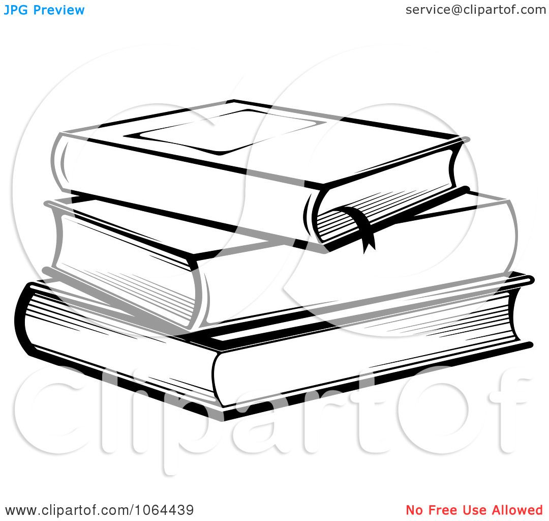 Clipart Stack Of Books In Black And White - Royalty Free Vector ...