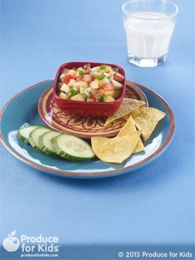 Peach Tomato Salsa - This sweet salsa is a perfect summer or sport-watching recipe. Make extra to use as a topping on fish or chicken later in the week. #nutfree #glutenfree #eggfree #vegetarian #recipe #produceforkids #healthy