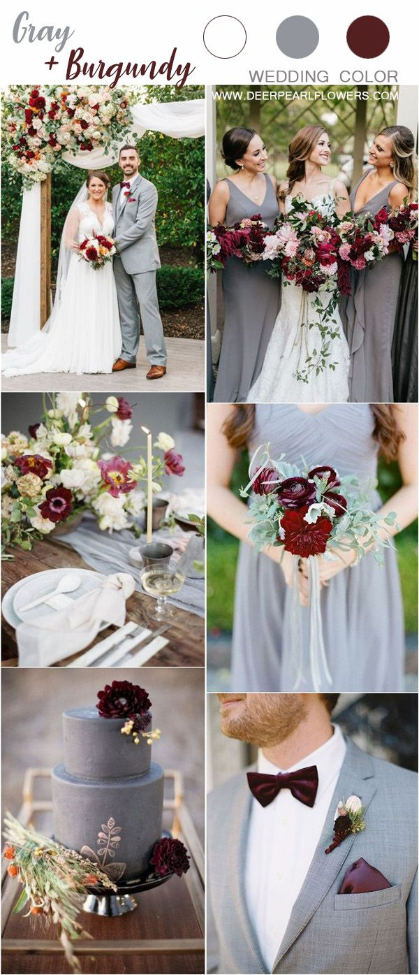 Grey And Burgundy Wedding Color Ideas Wedding Weddings Weddingideas Weddingcolors Deerpearlfl Burgundy Wedding Colors Grey Wedding Theme Burgundy Wedding