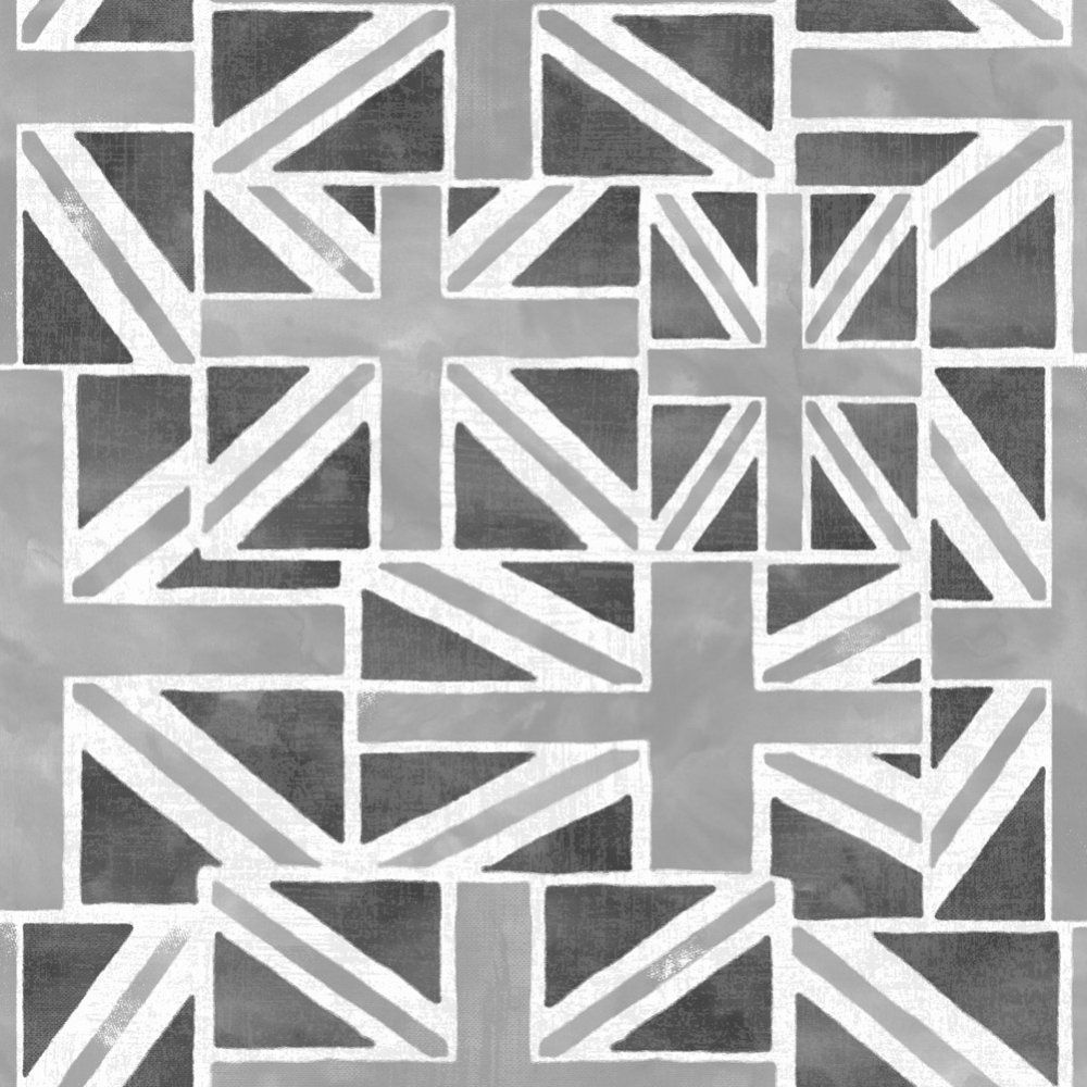 Union Jack Feature Wallpaper White Black Grey Fd40244