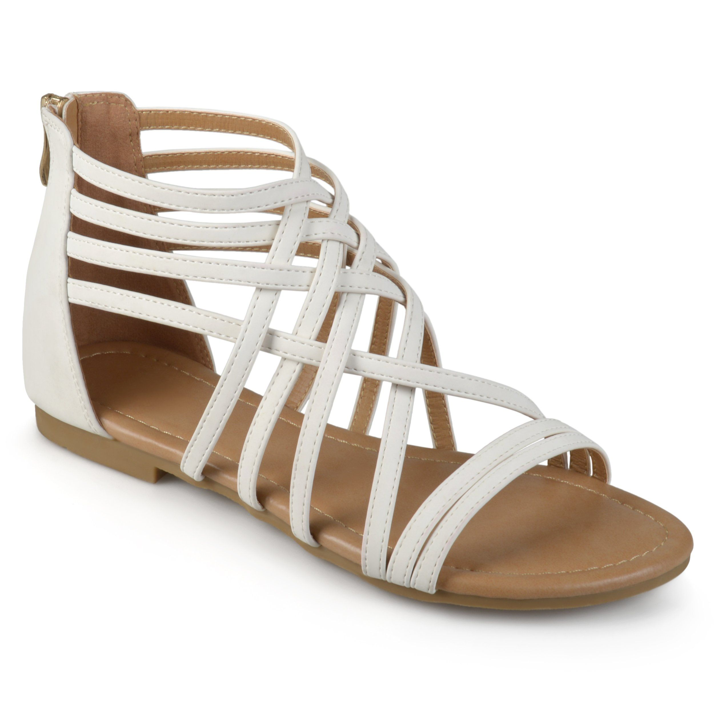 f13a639b947 Journee Collection Women s  Hanni  Flat Gladiator Sandals (Medium - White -  7.5) (Microsuede)