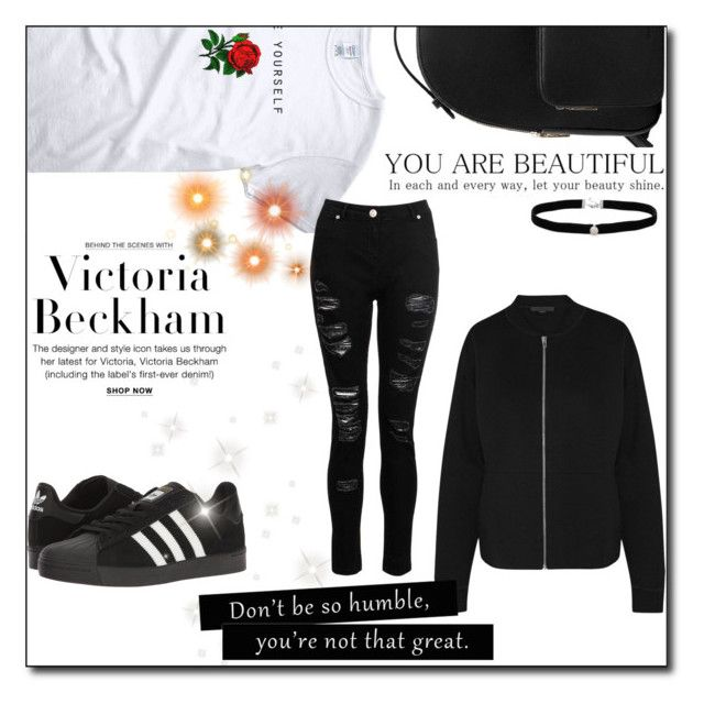 """""""Black"""" by veera01 ❤ liked on Polyvore featuring Victoria Beckham, adidas, MANGO, Amanda Rose Collection, Alexander Wang and Dorothy Perkins"""