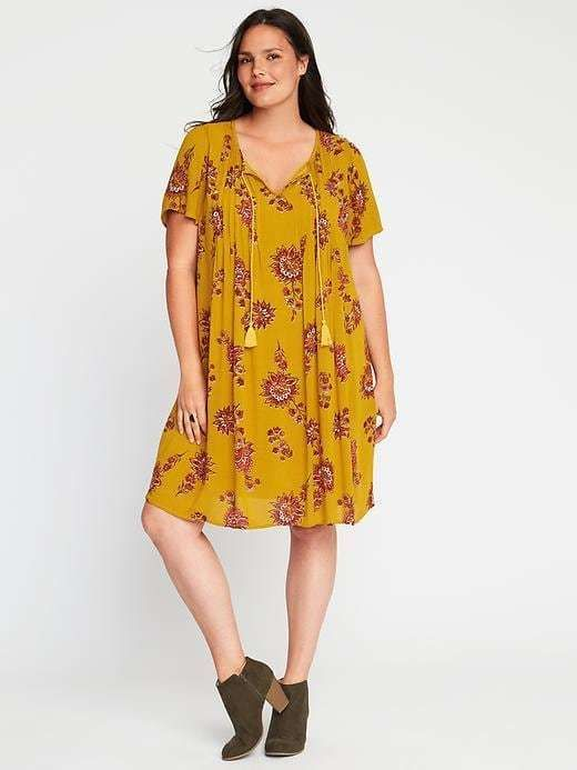 Old Navy Pintucked Tassel Plus-Size Swing Dress | Products | Navy ...
