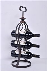 This Metal Hourglass Shaped Wine Stand w/Handle~Holds 3 wine bottles and makes a…
