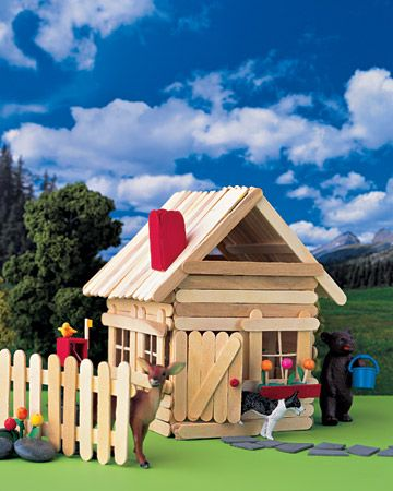 Popsicle Stick House - Made by gluing together Popsicle sticks, this post-ice-pop house is the perfect craft for kids to make. The basic house is complete with a roof, windows, a chimney. By adding more support sticks, kids can make houses into snack shops -- every stick village needs one. With a city of sticks, kids and their toy animals will never be bored. Marthastewart.com