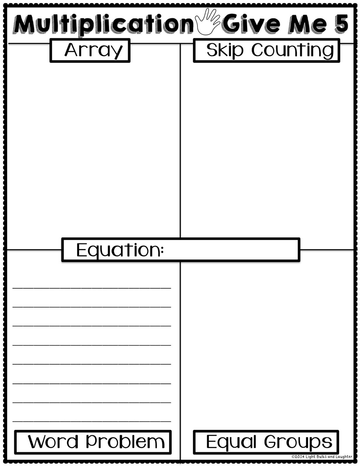 worksheet Light Me Up Math Worksheet multiplication give me 5 worksheet and poster free how students light bulbs laughter ways to represent or solve a problem