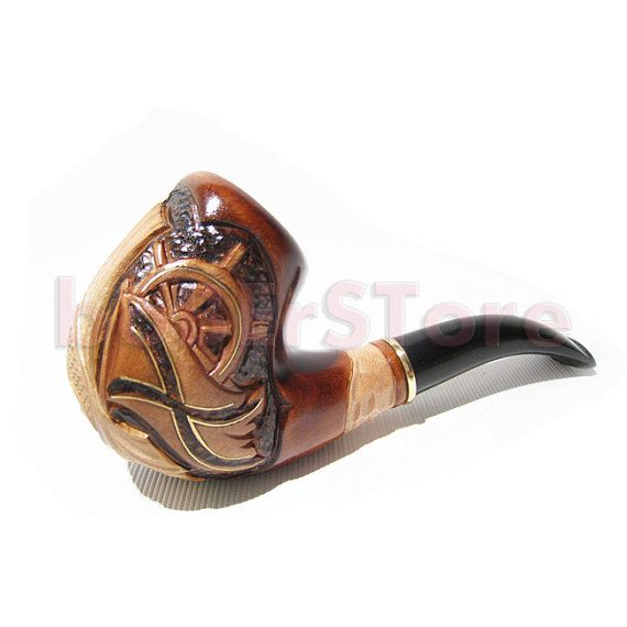 Smoking pipe carved Tobacco pipe Wooden pipe Smoking pipe carved Tobacco pipes Smoking pipes Vintage style Wood gift Wooden pipes Wood pipe