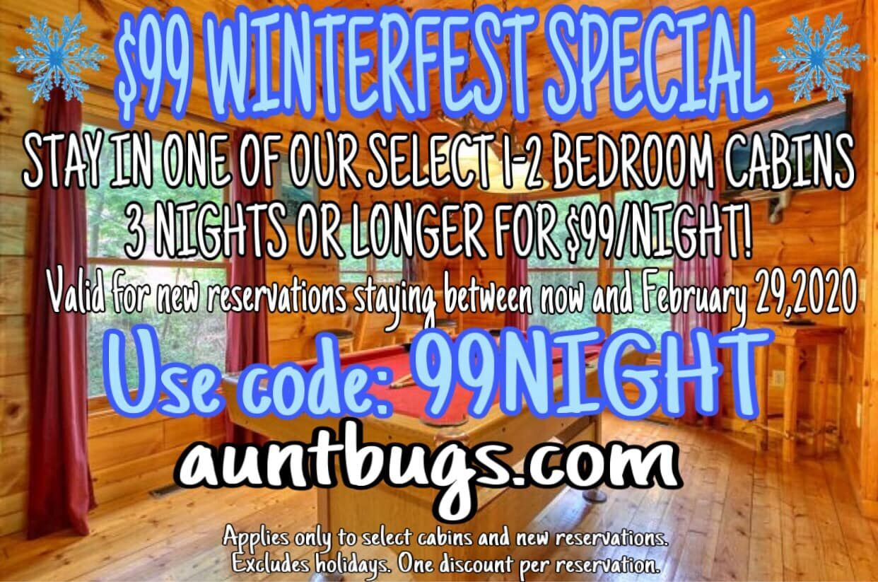 99 Winterfest Special Stay In One Of Our Select 1 2 Bedroom Cabins 3 Nights Or Longer For 99 Night Gatlinburg Cabin Rentals Gatlinburg Cabins Cabin Rentals