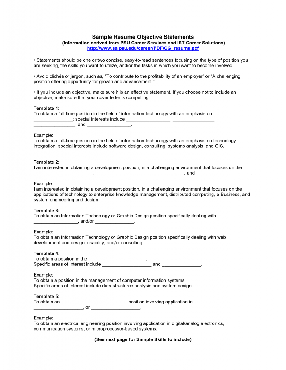 Resume Objective Statement 12 General Resume Objective Examples  Sample Resumes  Resume