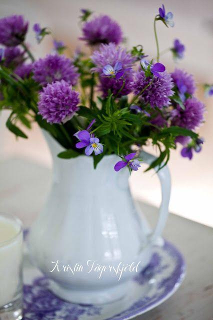 triss i lila: gräslöksblommor, styvmorsvioler och lila Asiatic Pheasants-fat