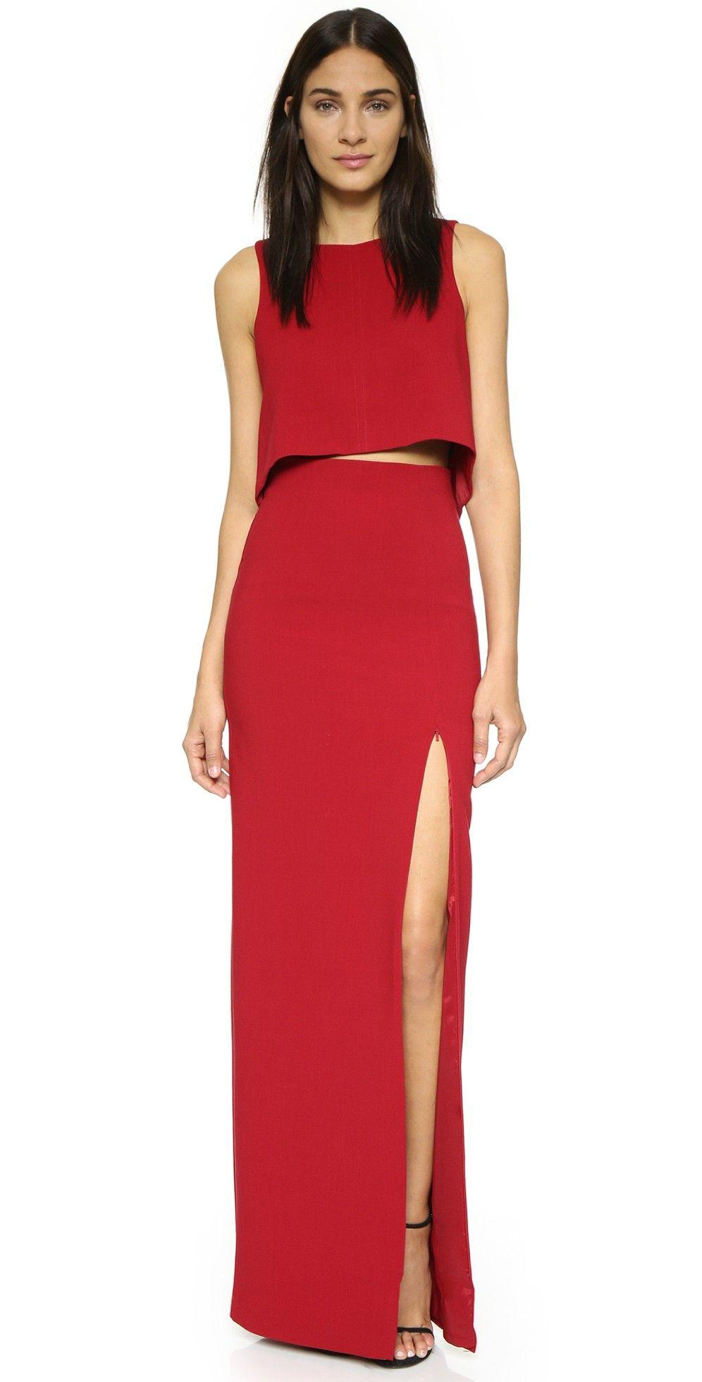 Black Halo Kacie 2 Piece Maxi Dress Maxi Dress Two Piece Red Dress Cocktail Evening Dresses [ 1961 x 996 Pixel ]