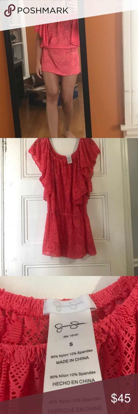 Jessica Simpson coverup Coral lace coverup with elastic around waist. Only worn 3 times!! Jessica Simpson Dresses