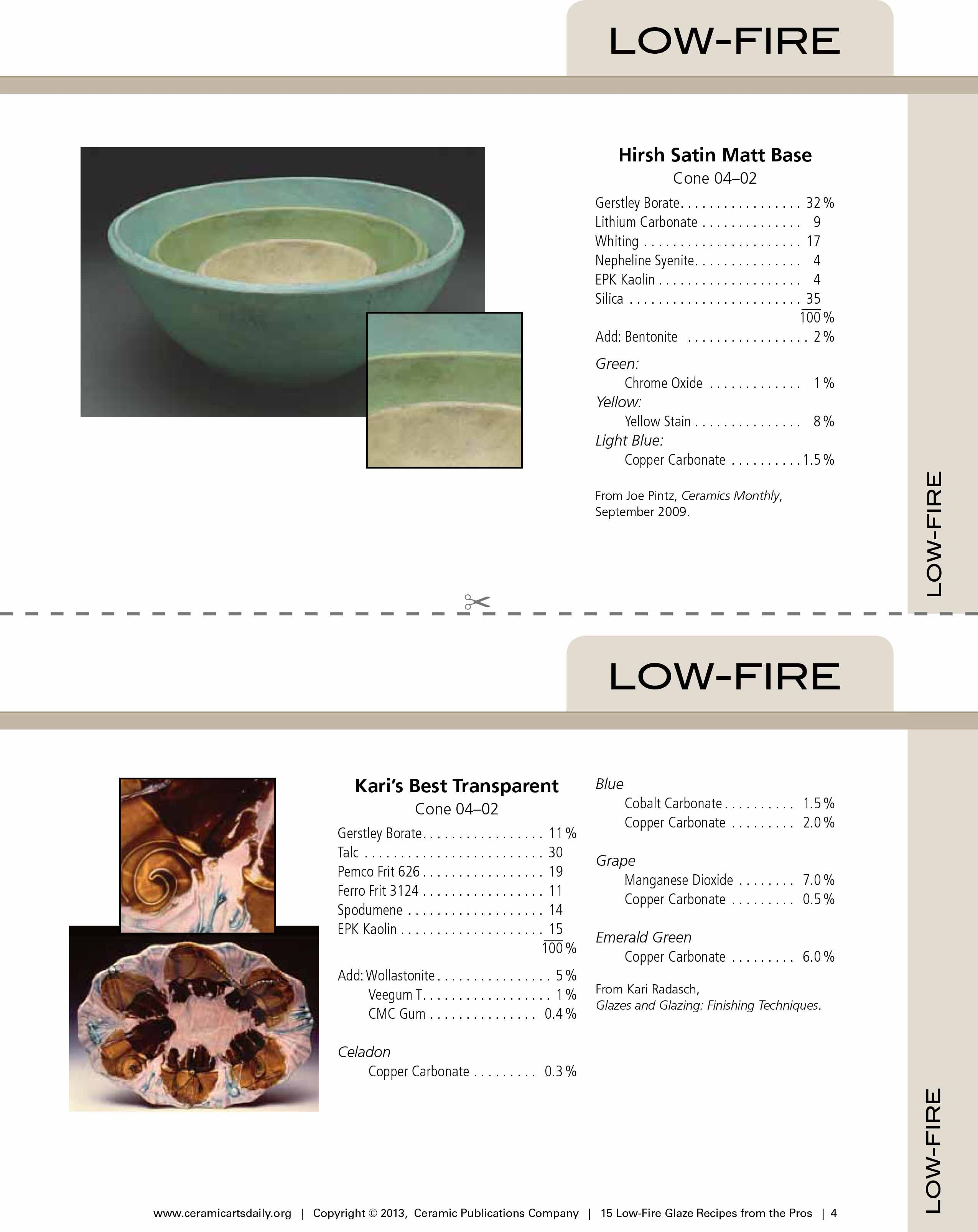 15 Low Fire Glaze Recipes From The Pros Recipe Cards For Low Fire Pottery Gazes Www Ceramicartsdaily Com Ceramic Glaze Recipes Glaze Recipe Glaze Ceramics