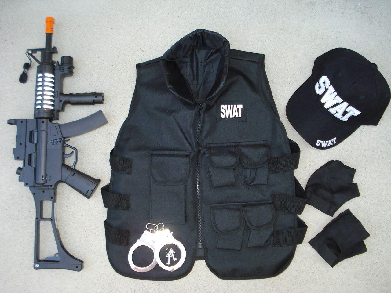 toygunzone swat combat set 2 swat vest mp5 swat assault rifle swat swat halloween costumeswat vestmp5assault riflebulletproof - Halloween Bullet Proof Vest