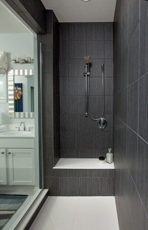 Dark gray large shower tiles walk in shower ideas glass door contemporary bathroom design home for Black and grey bathroom tiles