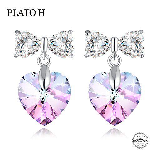 Heart Stud Earrings Created with Purple Swarovski Crystals Earrings for Lady Women Girls