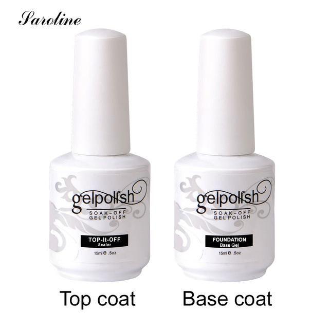 Saroline Soak Off Gel Rubber Base Coat top coat UV Nail Polish ...