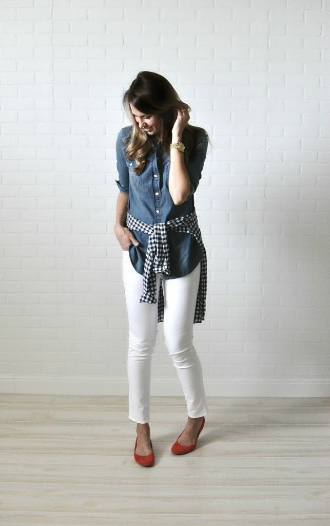 J. Crew top in tall // Gap white skinny jeans in long // Toms ...