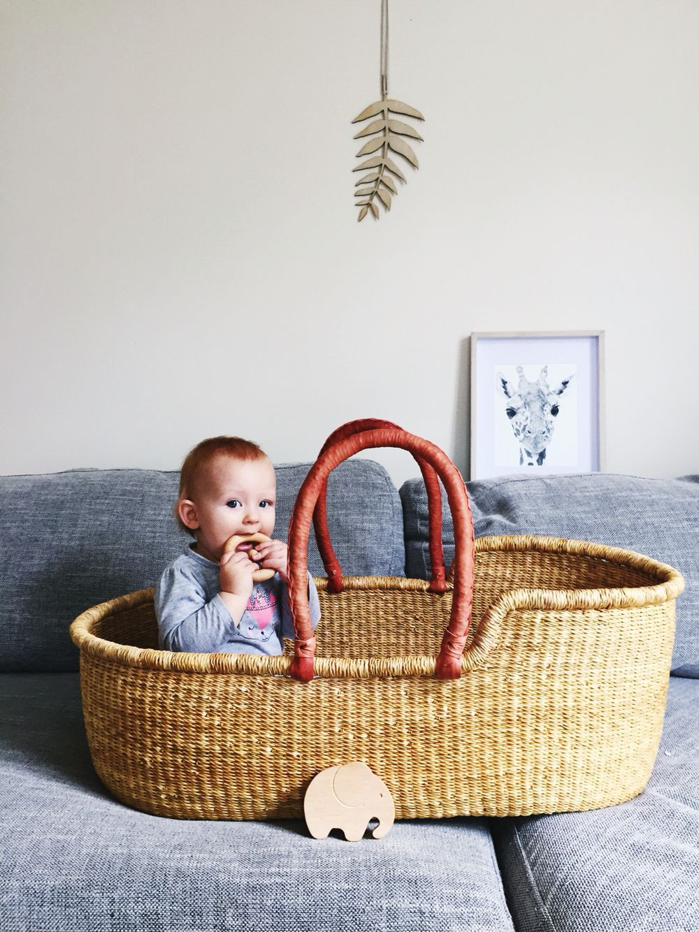 Baby Charlie in our Au Naturel Moses basket, handwoven from Ghana ...
