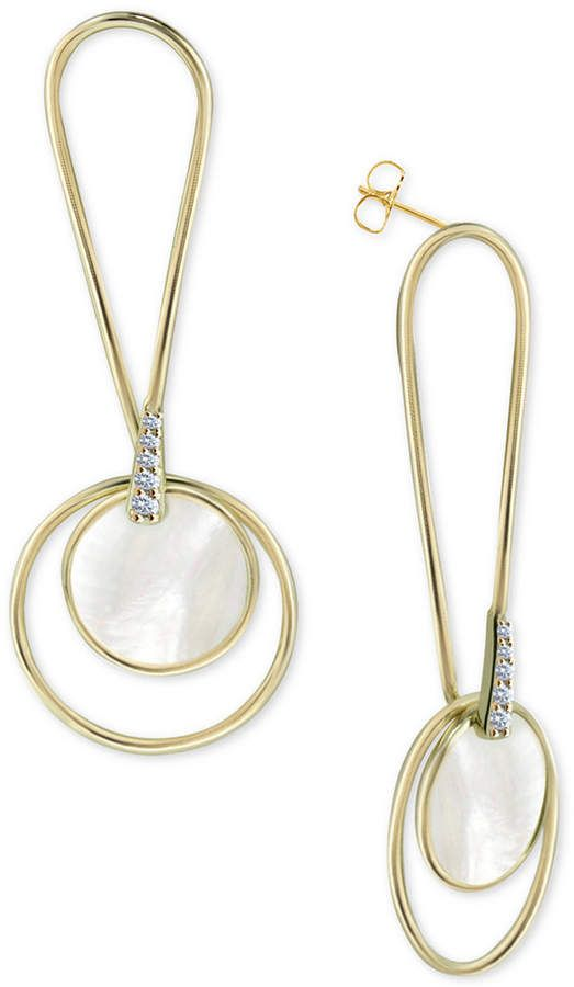 b2f5776d6 Argentovivo Mother-of-Pearl Circle Drop Earrings in Gold-Plated Sterling  Silver