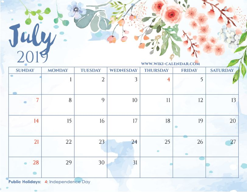 free printable july 2019 floral calendar with holidays