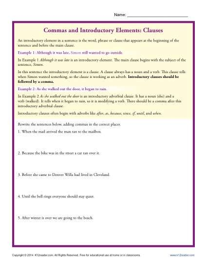 Commas and Introductory Elements: Clauses | Teaching | Pinterest ...