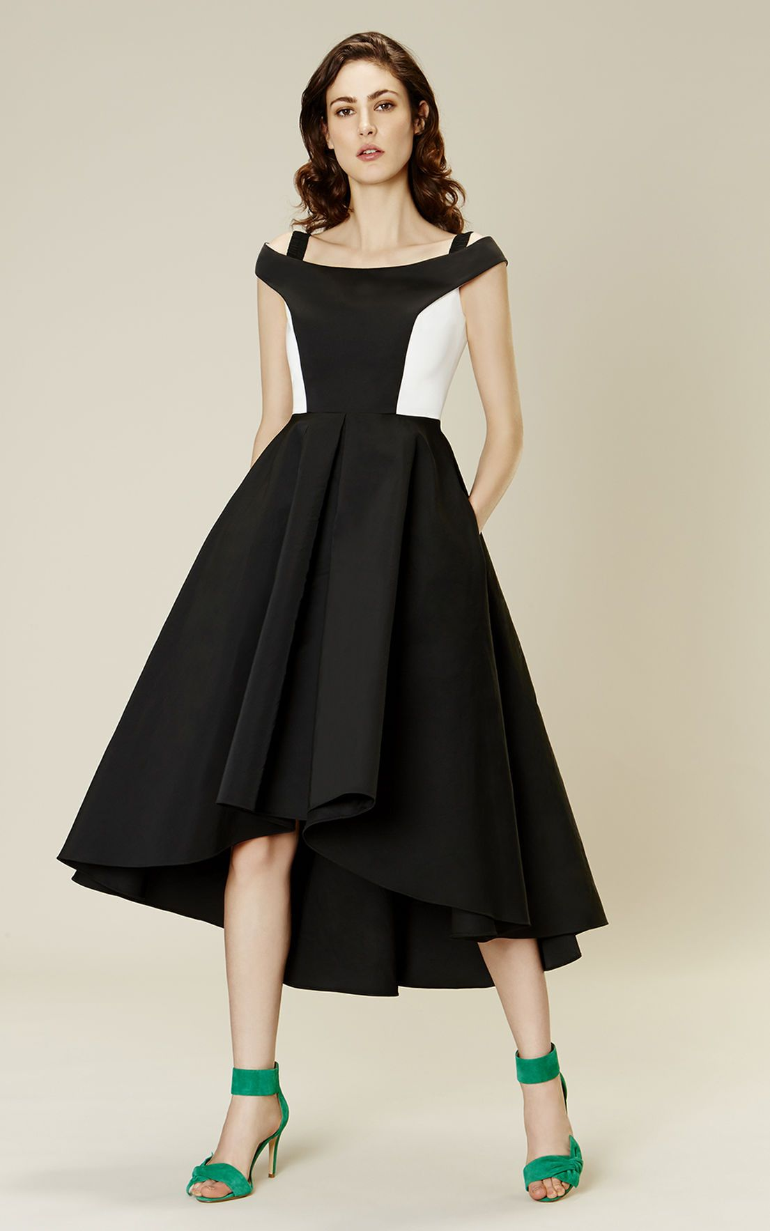 Karen millen offtheshoulder prom dress black u ivory wardrobe