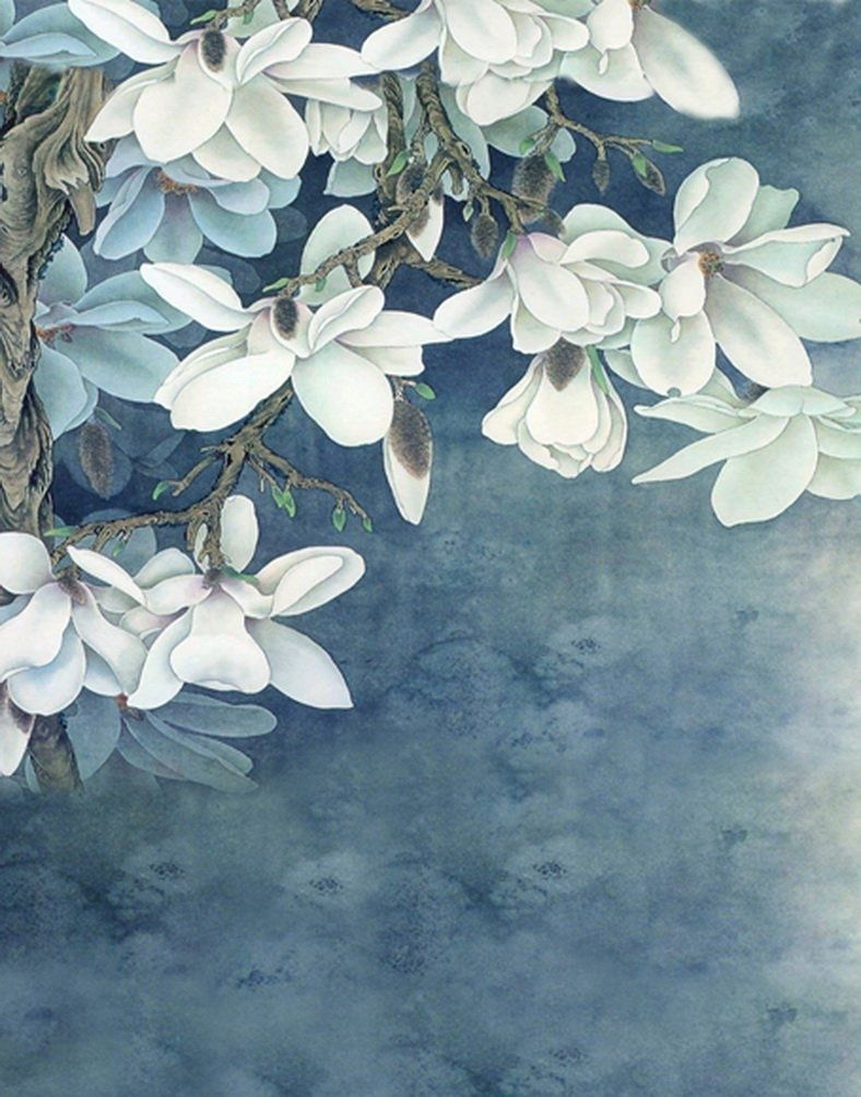 White Flowers Paintings Photography Backdrops Photo Props Studio Background 5x7ft