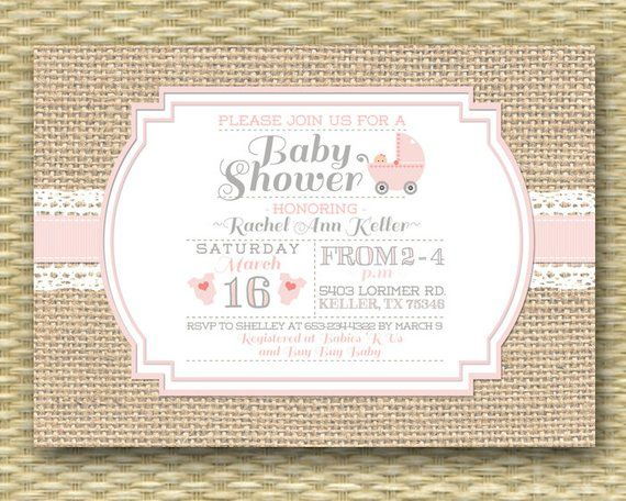 Baby Shower Invitation Burlap Lace Rustic Country Soft Pink Any Colors Ev