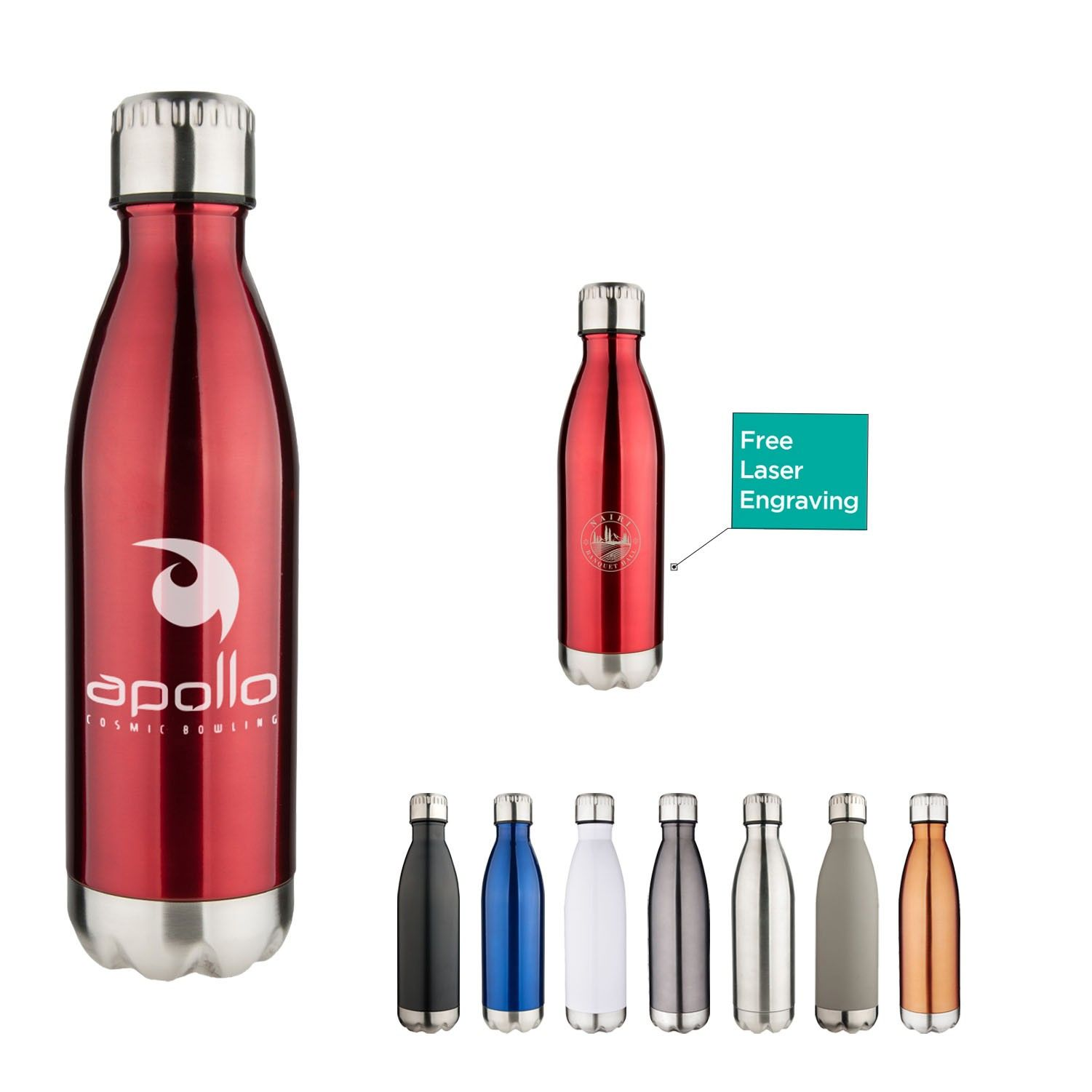 17 Oz Apollo Double Wall Stainless Vacuum Bottle Copper