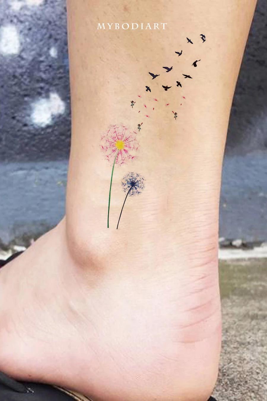 Liberty Blowing Dandelion With Sparrow Birds Temporary Tattoo Ankle Tattoo Dandelion Tattoo Foot Dandelion Tattoo