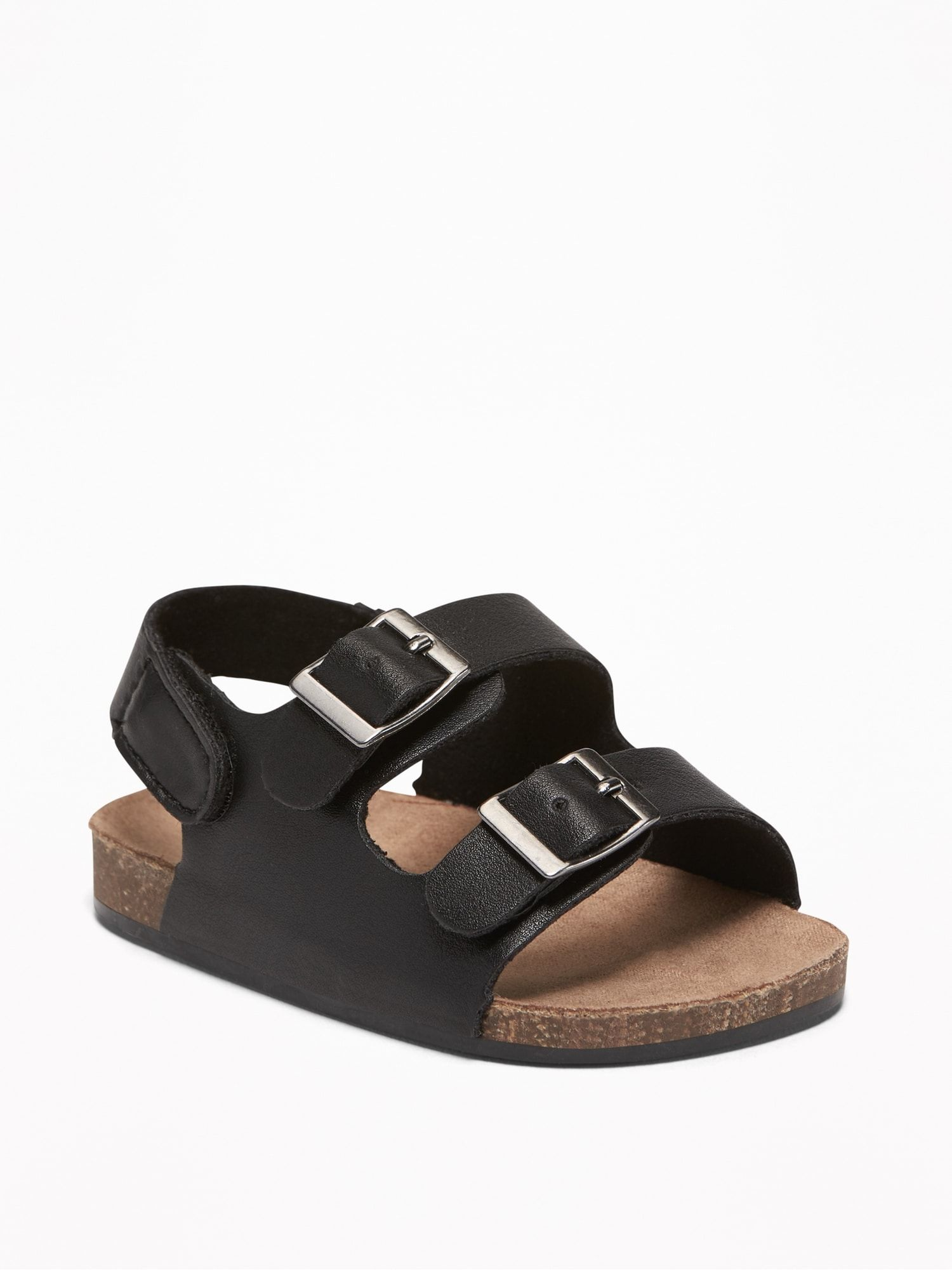 Faux-Leather Double-Buckle Sandals for