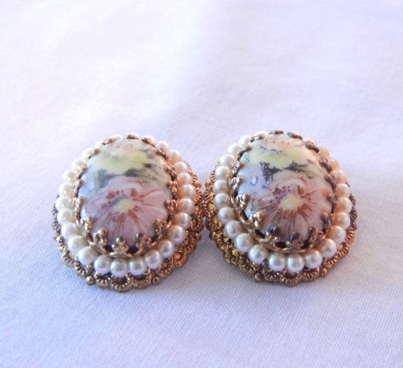 50s Pastel Floral Clip Earrings, Flower Cabochon, Pearls