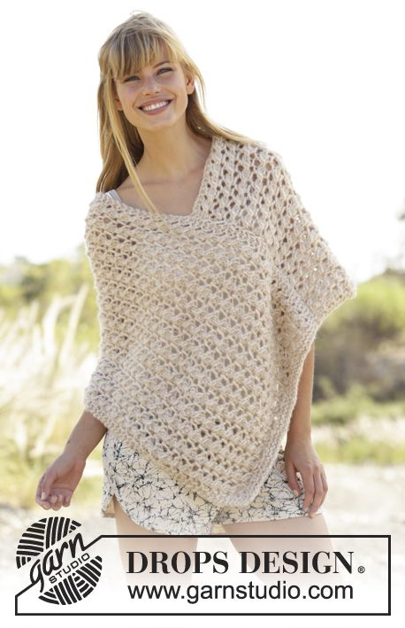 Knitted DROPS poncho with lace pattern in Cloud. Size: S - XXXL ...