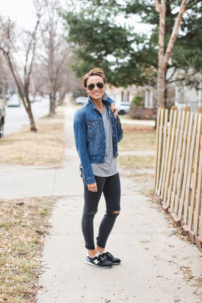 cool mom clothes, distressed skinnies, denim jacket ...