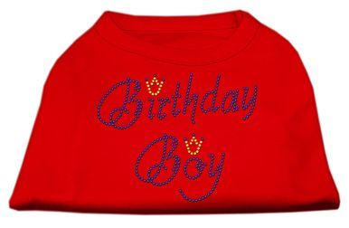 MiragePet Dog Pet Puppy Birthday Boy Rhinestone Design Shirt Dress Costumes Red Large Size - 14