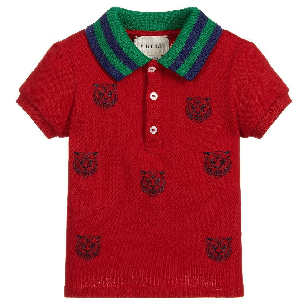 c93937ccf7f3 Gucci - Boys Red Tiger Polo Shirt