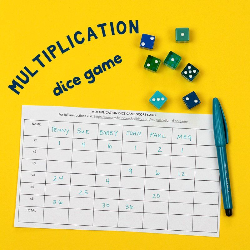 Fun and Simple Multiplication Dice Game Multiplication