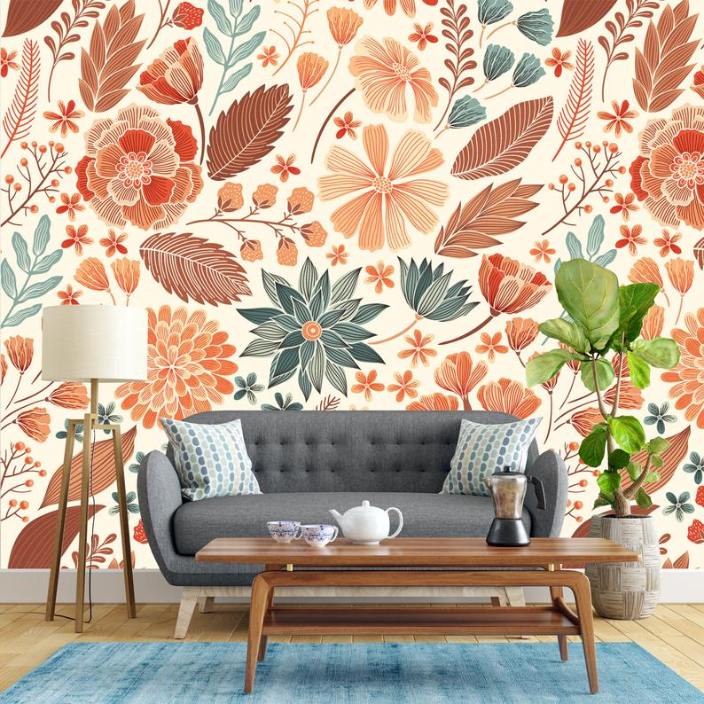 Removable Wallpaper Orange Fall Mythic Flowers Peel And Etsy Nursery Wallpaper Removable Wallpaper Wallpaper