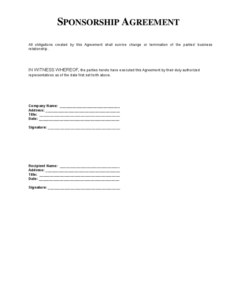 10 Sponsorship Agreement Templates Word Excel Pdf