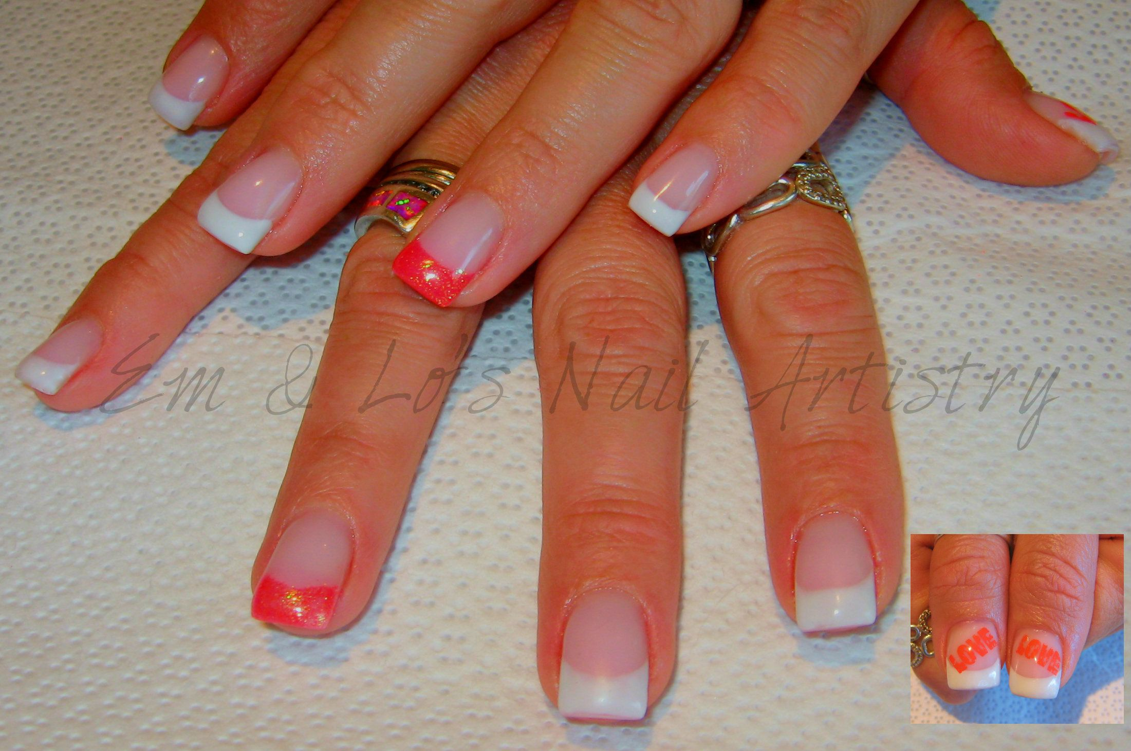 Brisa French Gel Overlay ~ Coral Glitter Tips Accent with Graffiti ...