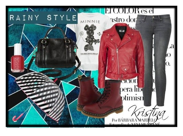 """rainy style"" by kristina-tm ❤ liked on Polyvore featuring Arco, Uniqlo, Neff, Dr. Martens, Merona, Kate Spade and Essie"