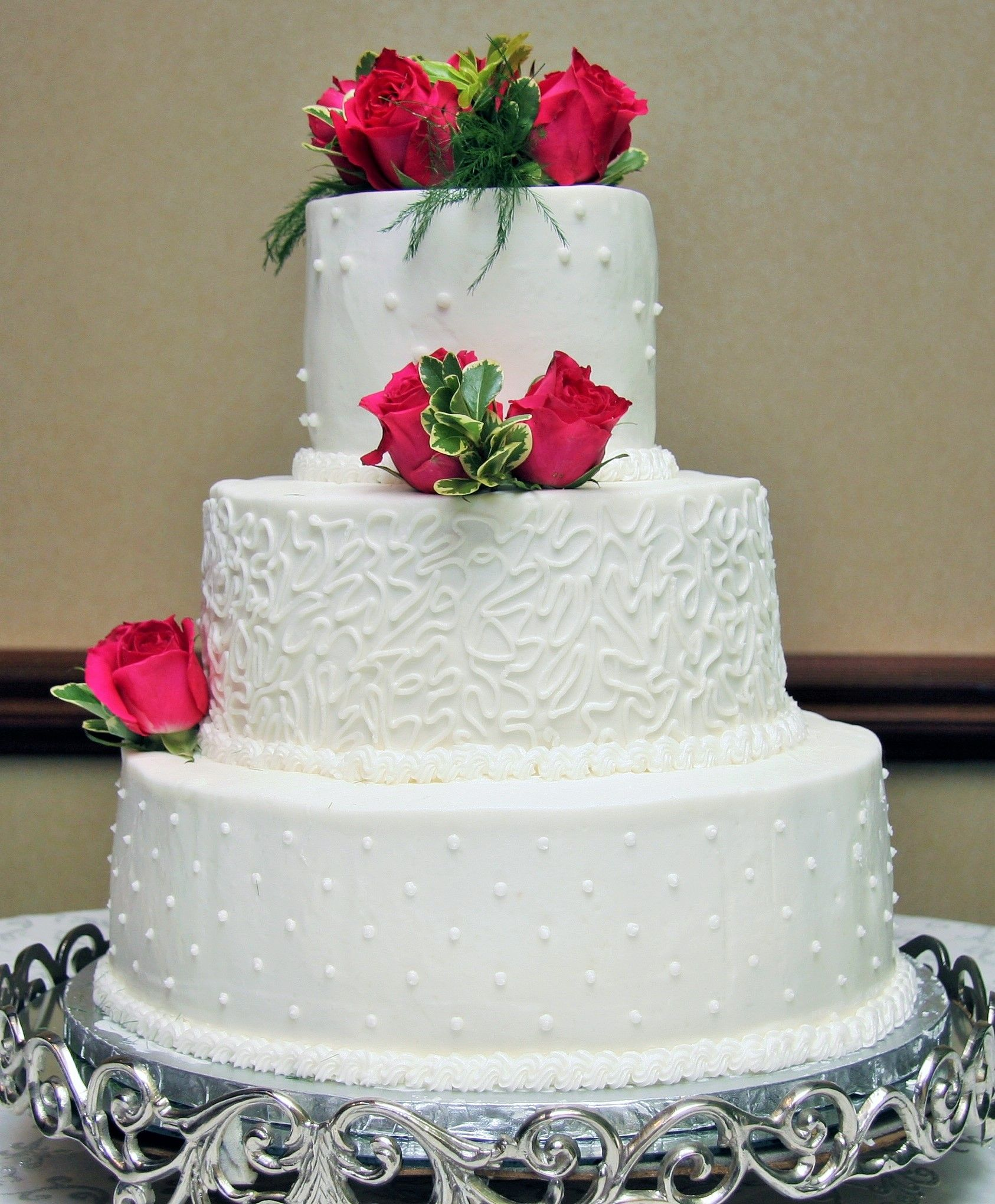 3 Tier Round Wedding Cake with Design and Pink Roses | Cakes and ...